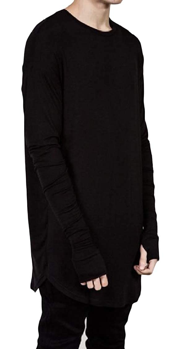 Freely Mens Crew Neck Mid-Long Leisure Long-Sleeve Solid Pullover Tees