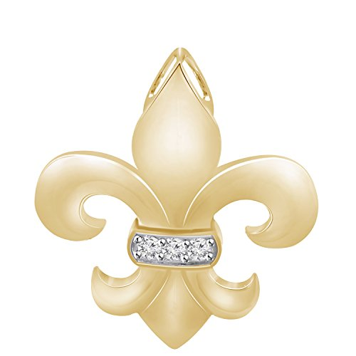 Pretty Jewels Genuine Diamond Fleur-de-Lis Pendant Necklace (0.07 Carat) in 10k Yellow Gold Finish Sterling Silver 925