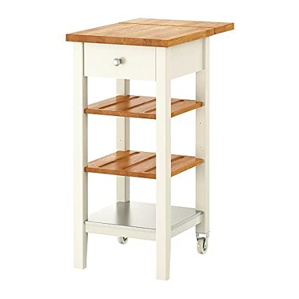 Ikea Stenstorp - Carrello da Cucina, Bianco, Rovere - 45 x ...