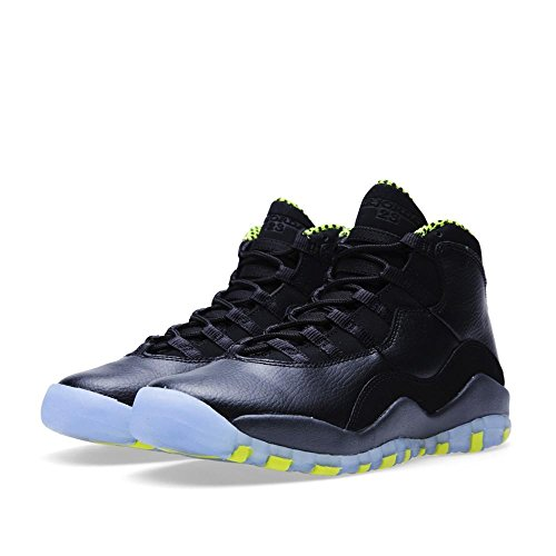 nike air jordan 10 retro GS hi top basketball trainers 310806 sneakers shoes  (uk 3.5 us 4Y eu 36, black/venom green-cool grey-anthracite 033)