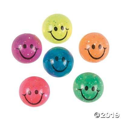 Fun Express HI-Bounce Smile FACE Balls W/Glitter - Toys - 12 Pieces: Toys & Games