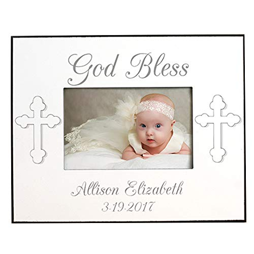 (God Bless. Personalized Christening Printed Frame, Holds a 3.5