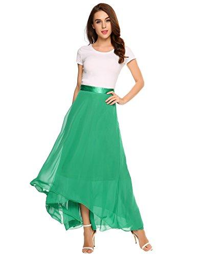 (Zeagoo Women Retro Vintage Double Layer Chiffon Pleat Maxi Long Skirt Dress Purple XX-Large)