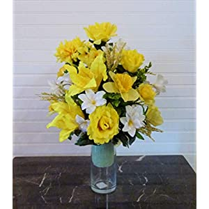 Cemetery Vase with Yellow Roses, Spring Cemetery Flowers in Vase, Mother's Day Cemetery Flower Arrangement 105