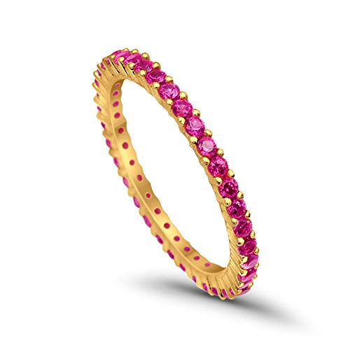 Blue Apple Co. 2mm Full Eternity Band Ring Round Simulated Red Ruby 14k Yellow Tone Over Plated 925 Sterling Silver
