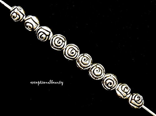 Silver 5.5mm Flower Rosebud Rosary Spacer Metal Beads ()