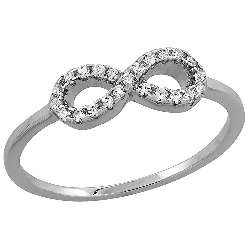 Sterling Silver Cubic Zirconia Dainty Infinity Ring Micro Pave 3/16 inch Long, size 9 ()