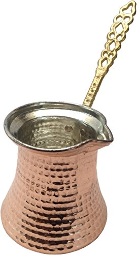 Premium Brass Copper Turkish Coffee Warmer Pot with Handle, Also for Greek Arabic Tea 2-3 People (11oz / 300 mL)