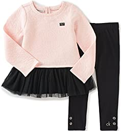 Calvin Klein Baby Quilted Tunic With Leggings Set, Peach, 18 Months