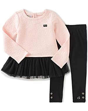 Baby Girls' Quilted Tunic With Leggings Set