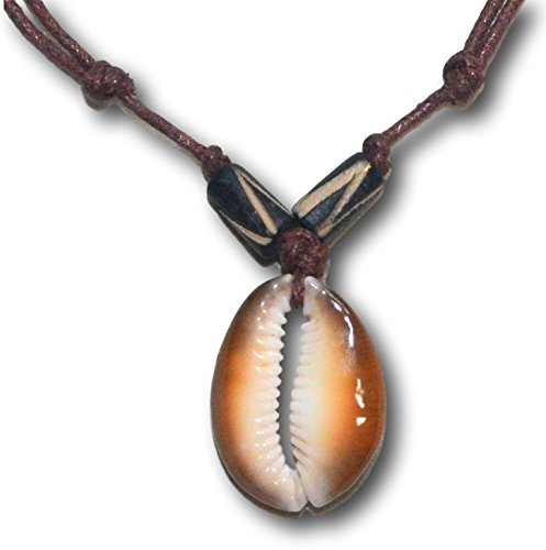 nuine Caput Cowrie Solo Shell Pendant Choker, Adjustable Wax Cord Necklace (Cowrie Shell Necklace Choker)