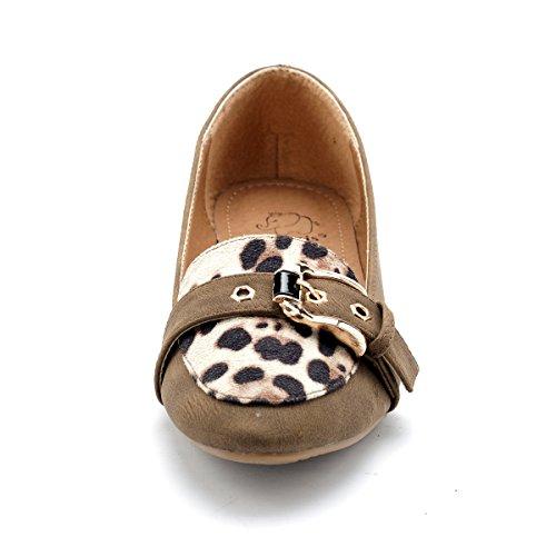 Alexis Leroy ALSS090 - Bailarinas planas cuadradas de leopardo mujer Marrón