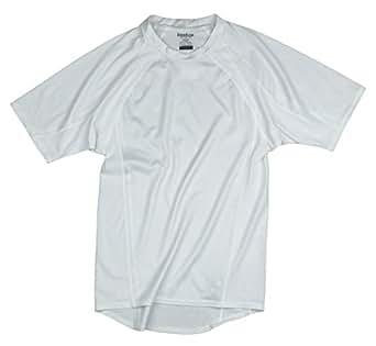 Reebok Men's Athletic Short Sleeve Compression Shirt (Large, White)