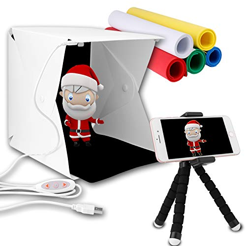 Innens Portable Photo Studio, Mini Folding Table Top Shooting Tents with Dual LED Lights and 6 Backdrops for Photography (9.1 x 9.4 x 8.7 Inch - Double Lights - Phone Holder) ()