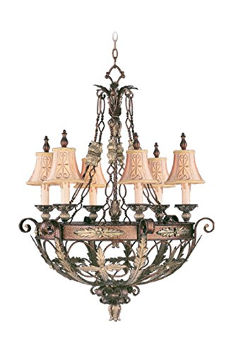 Palacial Bronze with Gilded Accents 6 Light 360W Chandelier with Candelabra Bulb Base and Hand Embroidered Shades/Decorative Finials Glass from Pamplona Series ()