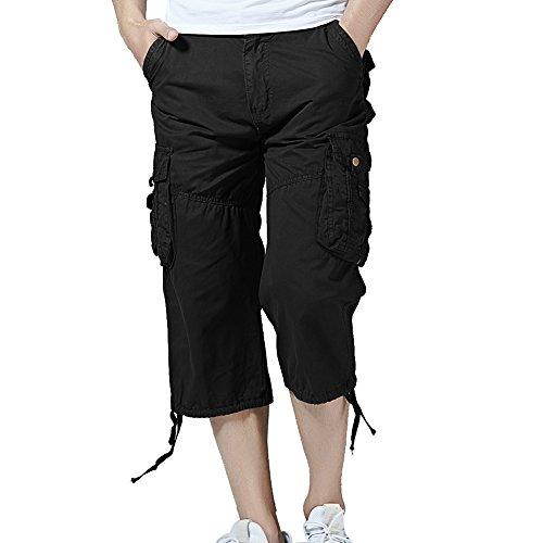 Combat Cargo Shorts - PIZZ ANNU Men's Cargo Shorts Casual Combat Knee-Length Capri Outdoor Shorts Pants(Black-32)