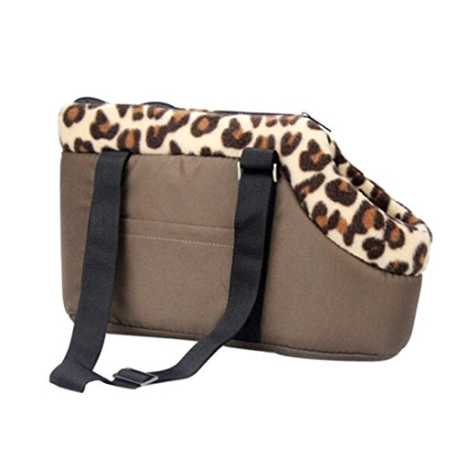Qianle Leopard Dots Lightweight Pet Carrier Dog/Cat Handbag Shoulder Tote Bags CoffeeS