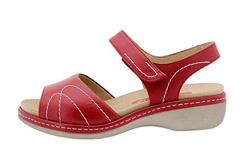 Calzado mujer confort de piel Piesanto 1801 Sandalia Plantilla Extraíble cómodo ancho Rojo