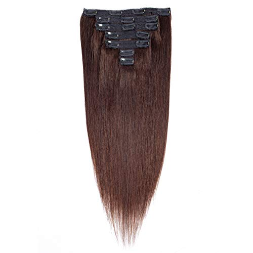 Dark Brown Human Hair Extensions Clip ins Thick Good Quality Human Hair Double Weft Brazilian Virgin Hair 7Pcs/set 14