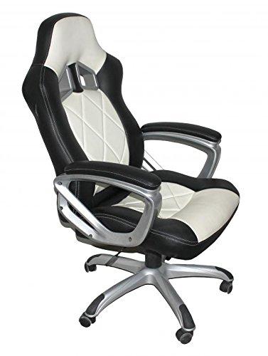 Forza schwarz Leder Match & Weiß Racing Bürostuhl