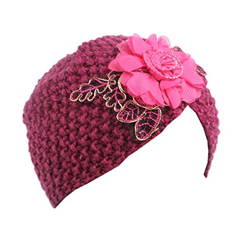 - Qhome Girls Knit Beanie Flower Knitted Turban Headbands Kids Cap Handmade Crochet Hats Children Turbante