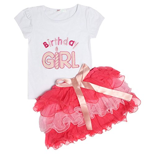 [LittleSpring Little Girls' Clothing Set Birthday Size 6 (130cm)] (Halloween Outfits For Little Girls)