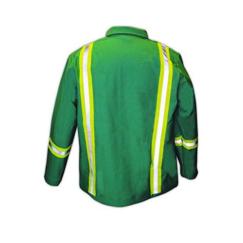 Magid Glove & Safety IND2530HV Magid IND2530HV Arc-Rated 12 oz. 100% FR Cotton Jacket with Hi-Viz Stripes by Magid Glove & Safety (Image #1)