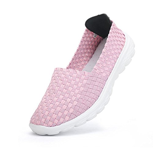 Sport On Light Woven Flats Elastic Comfort Breathable Shoes Women Pink Slip wuayi Weight Loafers Mesh Water Casual q0UwOI7xA