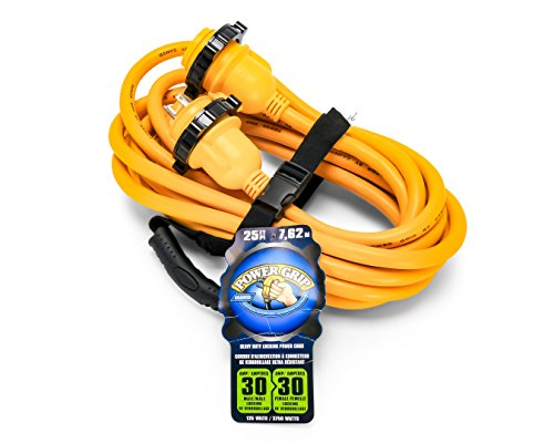 Camco 55611 25' PowerGrip Marine Extension Cord with 30M/30F Locking Adapter