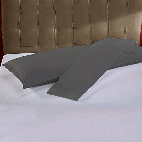 Rajlinen Body Pillow Cases - 100% Cotton Luxury 600-Thread Count Sateen Finish 2 Qty 20X60 Size - Dark Grey Solid