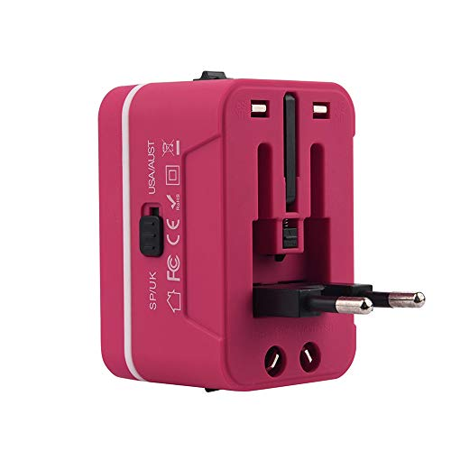Travel adapter, Universal Travel Adapter and Convertor with 2 USB Ports Power Convertor Wall Plug Power for UK/US/AU/EU (Hot Pink) by TLT Retail (Image #3)