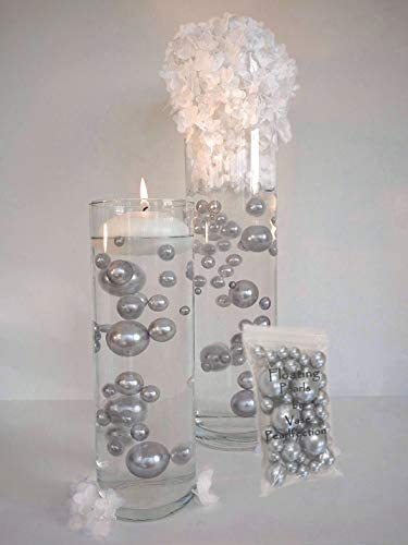 home, kitchen, home décor,  vase fillers 7 discount 4 Packs Sale Silver Pearls - No Hole Jumbo deals