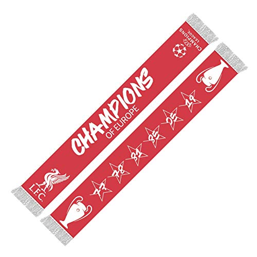 - Liverpool FC Red UCL 6 Time Champions Scarf LFC Official