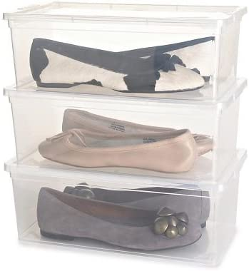 Lakeland Ladies Transparent Shoe Organiser Lidded Storage Boxes - Set of 3