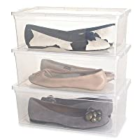 Lakeland Ladies Transparent Shoe Organiser Lidded Storage Boxes - Set of 3
