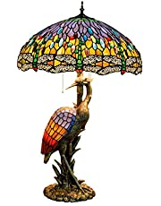 Tiffany Style Dragonfly Table Lamp, 20 Inches 3-Light Retro Stained Glass Desk Light with Pull Chains, Bedside Reading Light for Coffee Table Living Room Office, E27