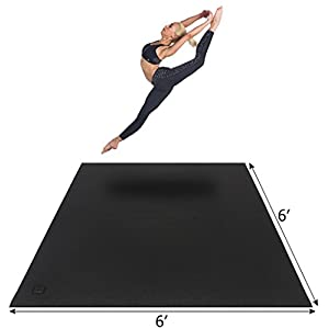 Gxmmat Large Yoga Mat 72″x 72″(6'x6′) x 7mm for Pilates Stretching Home Gym Workout, Extra Thick Non Slip Anti-Tear Exercise Mat, Use Without Shoes