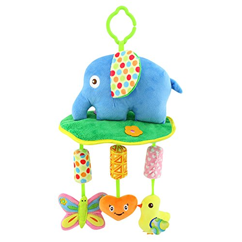 Baby Toys Soft Hanging Rattle Toy Infant Stroller Car Seat Crib Cute Travel Activity Plush Elephant Toy for Boys Girls by Shinybaby by Shinybaby (Image #4)