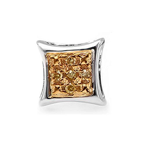 Dazzlingrock Collection 0.03 Carat (ctw) 10K Round Yellow Diamond Micro Pave Kite Shape Stud Earring (1pc), White Gold ()