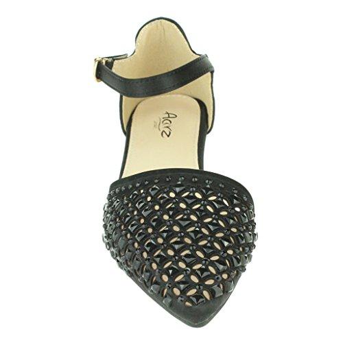 Mujer Señoras Puntiagudo Diamante Bailarina Correa de tobillo Noche Fiesta Boda Nupcial Paseo Casual Sandalias Zapatos Tamaño Negro
