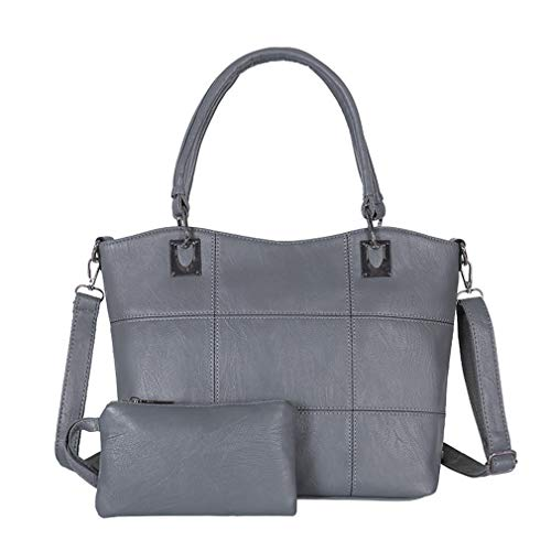 Gray1 32cm Shoulder PU Leather 13cm Women 27cm Black 2Pcs Bags wzBfq