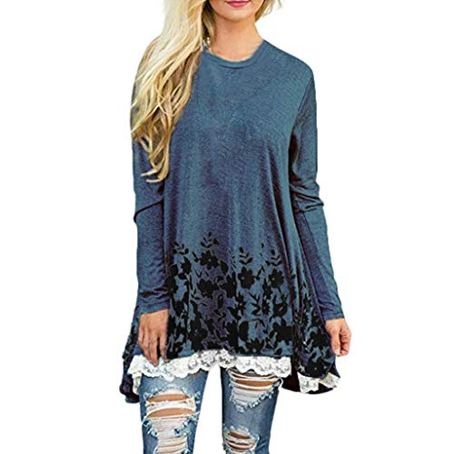 - JFLYOU Blouse for Women, Loose Lace Tops Floral Print O-Neck Long Sleeve Swing Tops Tunic(Navy,M)