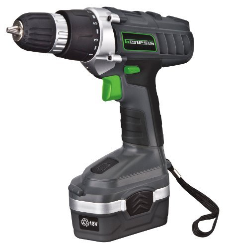 Genesis GCD18BK 18v Cordless Drill/Driver Kit, Grey by Genesis