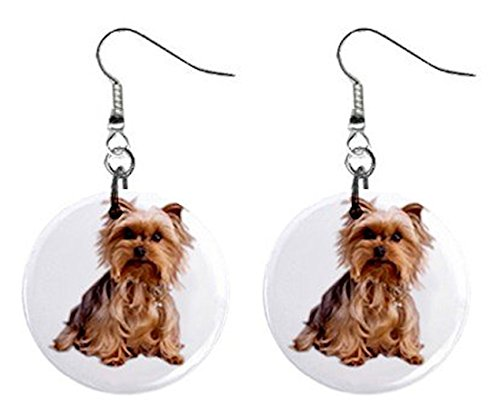 [Yorkshire Terrier Yorkie Dog Button Earrings Pet Lover Jewelry 12111019] (Yorkshire Terrier Jewelry)