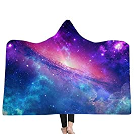 Gamloious Starry Sky Plush Printed Microfiber Hooded Blanket Adults Kids Sherpa Fleece Galaxy Wearable Throw Blankets Tv…