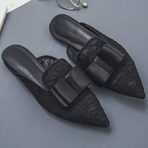 Casual Eithy Black Loafers Shoes b Backless Flats On for Slides Women Leather Mule Slip Mesh r0qSrn