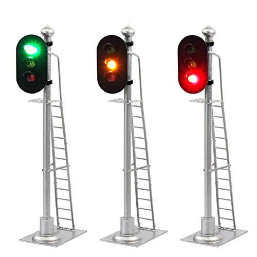 JTD433GYR 2PCS Model Railroad Train Signals 2-Lights Block Signal 1:43 O Scale 12V Green-Yellow-Red Traffic lights for Train Layout New from Evemodel