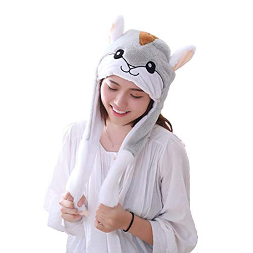 Debbieicy Lovely Costume Props Plush Bunny Hat Cute Animal with Movable Ears-Ideal Gift for Party and Celebrations (Hamster) -