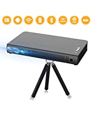 Mini Projector T6 2020 New Upgrade Android 6.0 Protable Video Projector Built-in Battery 3D DLP-Link 2400-Lumen Louder Speaker WiFi Bluetooth HDMI Support 4K Keystone Correction Black