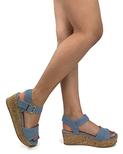 City Classified Womens Buckle Ankle Strappy Cork Platform Wedge Sandal, Blue Denim, ()